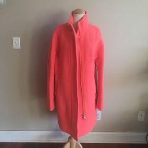 Bright Coral J.Crew Wool Cocoon Coat